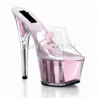 stripper shoes - Interdiffused Pink Crystal Slippers High Heeled Shoes Fashion Women s Shoes Ihch Beauty Decorative Crystal Stripper Shoes