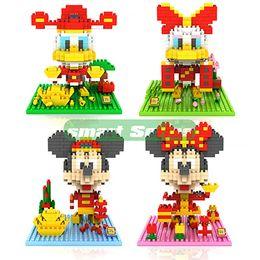 Wholesale Mini Cute LOZ Diamond Chinese New Year Big Head Mickey Minny Nano Building Blocks Educational DIY Bricks Model toy gift