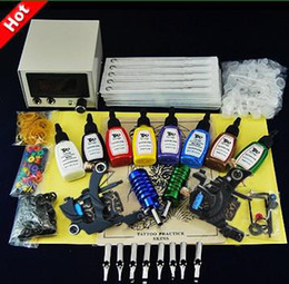 Wholesale Beginner cheap tattoo starter kits guns machines ink sets needles grips tubes paper supply within arrive days DHHTB014