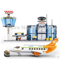 airport airplanes - Sluban Airplane with International airport building block brick Children s Learning Education plastic toys Compatible With