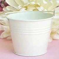 Wholesale 100pcs Wedding favors white tin candy pail tin pails favors mini bucket favors