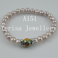 Wholesale New Style A151 AA Pearls Size mm length inch Mix Color Fresh Water Pearls Elastic Bracelet