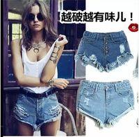 Cheap Wholesale-Retail Hot Sale Denim Shorts Fashion High Waist Shorts Sexy Ripped Shorts Women Plus Size Short Jeans Vintage Short Feminino XL