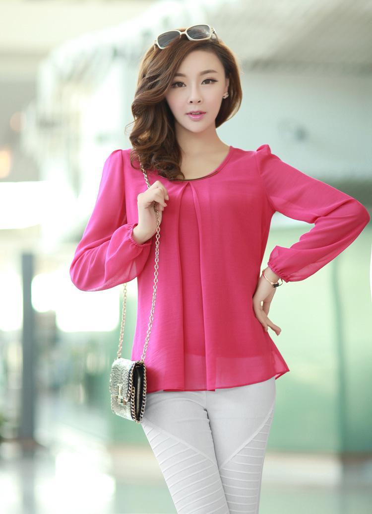 Wholesale-2015 New Fashion Hot Sale Plus Size Casual Long Sleeve Chiffon Blouse Shirts For Women W4279