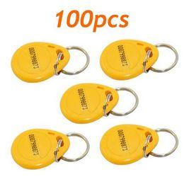 100pcs RFID Proximity ID Token Tag Key Ring 125Khz Yellow New
