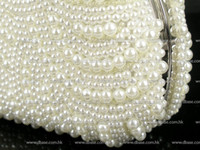 Wholesale Ivory PEARL Beaded Hand made in waved pattern Wedding Bridal Party clutch bag Evening purse handbag IN FREE SHIPMENT