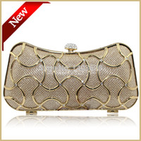 appliqued pillow - Elegant Gilding Hard Shell Clutch bag Hot Sale Lady Evening Party Bag Pillow Evening Handbag Purse Gold
