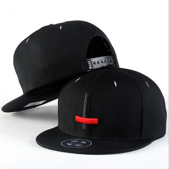 Gros-2015 Marque New Street Dance Hip Hop cool Caps Broderie Noir Croix-Rouge Sn