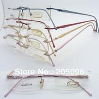 aluminum siding pricing - wholesales low price F058 lady aluminum spring hinge simple side arm rectangle rimless prescription eyeglass frames
