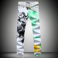 Wholesale New Mens Fashion Jeans Printing stamp White Black Leisure Jeans Pomo Personality Slim Fit Style Pants