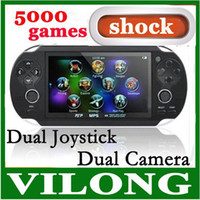 Cheap Wholesale-new 2015 8GB Handheld Game mp5 Player mp3 Player mp4 Player With Dual Joystick Camera FM TV-Out Portable shock Game Console