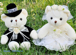 Wholesale-Kawaii 1Pair NEW Wedding Gift Bride & Groom Bear Bouquet DOLL TOY ; Plush Stuffed TOY Size12*6CM Soft Figure DOLL TOY