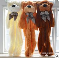 achat en gros de manteau géant ours en peluche-Frais de port gratuit gros-200cm / 2m manteau géant de peau d'ours en peluche trois couleurs sans coton PP valentine cadeaux de jouets en peluche