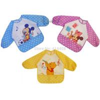 Wholesale NEW Baby Feeding Bibs Eating Cloth Mickey And Friends Cartoon Pinafore Long Sleeve Bib Smocks
