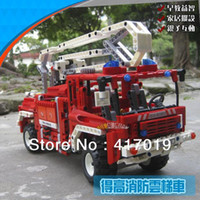 Cheap Wholesale-Free Shipping DECOOL 3323 LARGE 1036Pcs Exploiture Fire Engine Truck Plastic building blocks sets educational children toys