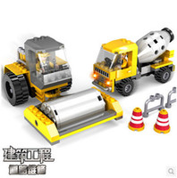 Cheap Wholesale-COGO 13721 Construction Series road roller cement mixer Car 207pcs Building Block Sets Educational DIY Bricks Toys