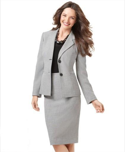 Light Gray Women Suit Skirt Suit Women Clothes Tailored Suit