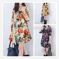 Wholesale Plus Size S XXL Women Clothing New Fashion Autumn Vestido Floral Print Linen Casual Loose Long Sleeve V Neck Dresses