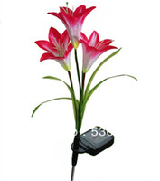 beautiful bulbs - Solar red Lily Flower Garden Yard Lamp Stake color LED Bulb beautiful Light Freeshipping