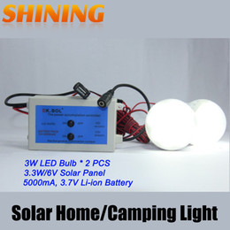 Wholesale-Free Shipping DC Home Traveling Camping Outdoor Indoor Solar Panel Powered 6W LED Light Bulb Lamp Home Lighting System Kit