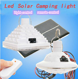Wholesale-Outdoor Indoor Remote Solar Power LED Light Portable Camping lamp Super Bright White Lighting Camp Tent Lantern Solar Lamps
