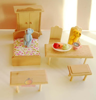 bedroom desk chairs - Play House wood D assembly Toy bedroom chair desk dollhouse miniature furniture children kids