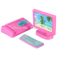 Wholesale New Dollhouse Miniature Modern Computer Keyboard Furniture Fax For Pink For Barbie Accessories Size Doll