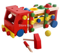 ball screw assembly - Hot sale educational wooden toy disassembly assembly screw vehicle nut car knock balls baby toy