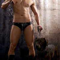 Cheap Wholesale-Popular Zipper Leather Men's T-back Penis Pouch Gay Male Sexy sheer mens thongs and g strings Low Rise Sexy Gay Underwear