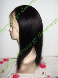 Wholesale Yaki Straight remy indian human hair full lace wig quot Jet black