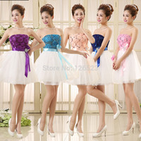 Wholesale New Fashion Sleeveless Ball Gown Formal Girl Party Homecoming Short Prom Dresses Purple Blue Red