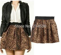 Wholesale-2015 new winter European style fashion women skirts leopard print tutu skirt Elastic waist big swing skirts umbrella skirt girls