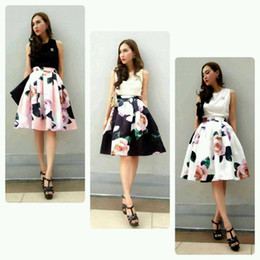 Wholesale-New women's big rose floral full circle swing skirt 50's pin up rockabilly ball gown party fashion stylish