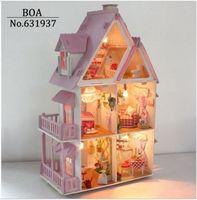 alice building - Hot Sunshine Alice Pink DIY Wooden Miniatura Doll House Furniture Handmade D Miniature Dollhouse Toys Gits English instructions