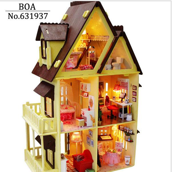 2017 Wholesale Diy Wooden Doll House With Furniture Light Model Building Kits 3d Miniature