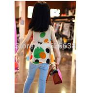 Wholesale Girls Kids Toddler Chiffon Blouse Shirt Dress Colored Circle Sleeveless shirt