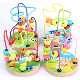 Wholesale-Free shipping New Kids Children Baby Colorful Educational Wooden Mini Around Beads Game Toy