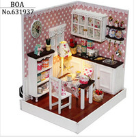 Wholesale Dollhouse Creative Diy Doll House Miniature Manual D Wood Homemade Assembled Model Building Kits time Toy Gift Delicious Time