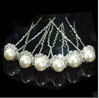 Wholesale 100pcs WEDDING PARTY BRIDAL PEARL clear Rhinestone HAIR PINS Hairpin headpiece crystal hairwear woman ornament accessories