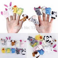 Cheap Wholesale-10pcs bag Plush Animals Finger Set Kid Child Baby Toy Learn & Education Pretend Daily Play Story Telling Free Shipping