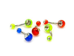 Wholesale Silver Ball Piercing - Lot 14g~1.6mm UV Acrylic Balls Gem Belly Button Navel Ring Bars Piercing Body Jewelry