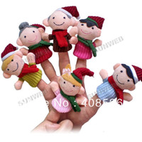 Cheap Wholesale-6Pcs Happy Family Soft Plush Puppet Finger Toys Educational Story-telling Toy For Children 8453