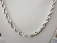 Wholesale 4mm in inch sterling silver Rope chain snake necklace fashion unisex necklaces