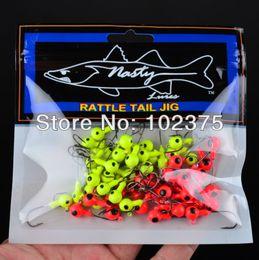 Wholesale-New best price Jig Big Hook Eye 100pcs 5G Fishing hook Mini LEAD ROUND HEAD FISHING LURE JIGS HOOKS free shipping