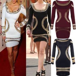 2017 robes moulantes kardashian Gros-vente robe automne 2015 au printemps Mesdames Celebrity Kim Kardashian impression sur film les femmes moulante Short Mini robes de cocktail pour la fête budget robes moulantes kardashian