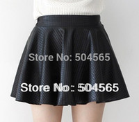 mini plaid skirt - Fashion Pu Leather Pleated Skirts Women s High waist Plaid Mini Skirt Black Red SK