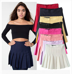 Wholesale Saias Femininas Summer New Fashion Europe Tennis Skirt Women s Clothing Bodycon Solid Candy Colors Pleated Skirt Plus