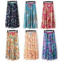 Wholesale Freeshipping colours cm A lined fashion skirts floral printed maxi skirts womens