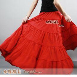 Gros-Bohemia BOHO cercle complet 5 niveaux coutures Gypsy danse à long coton rouge longues jupes plissées. Livraison gratuite! à partir de bohême plissé jupe longue fournisseurs