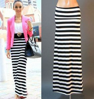 Cheap Black White Striped Maxi Skirt | Free Shipping Black White ...